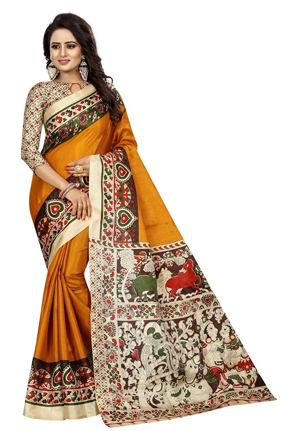 FabDiamond Cotton Saree With Blouse Piece