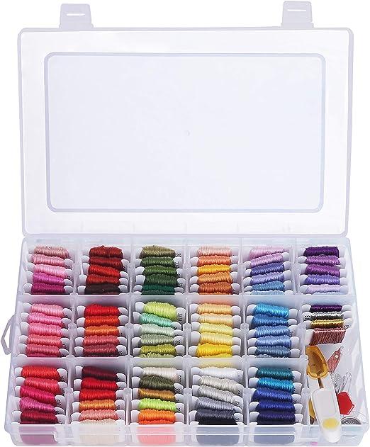 Kit Bordado con Caja Organizadora 100 Colores Bobinas Hilo Punto de Cruz - 30 Agujas, 2 Enhebradores, 2 Dedales, 1 Tijeras, 1 Herramienta para Desenredar, Alfileres: Amazon.es: Hogar