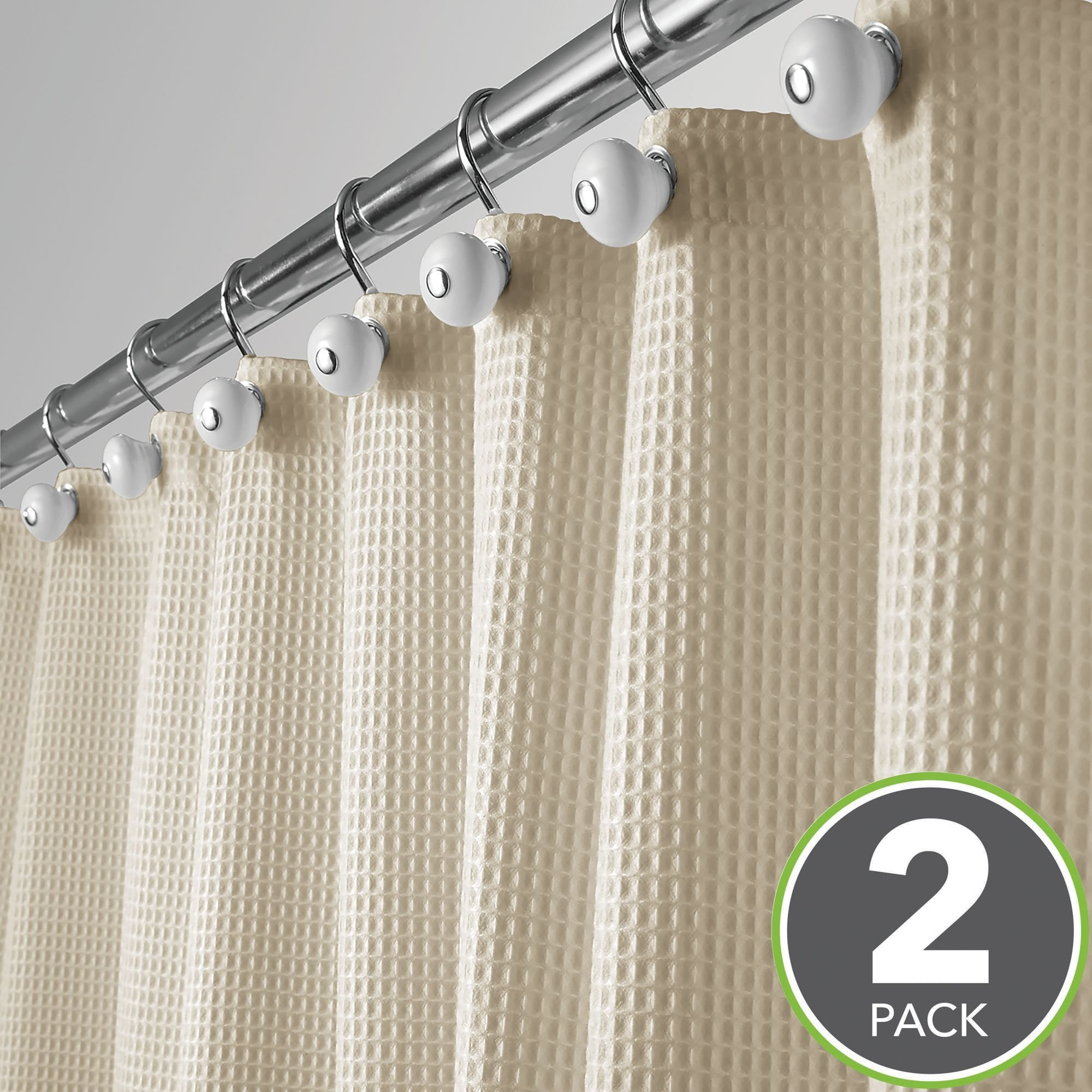 mDesign Hotel Quality Polyester/Cotton Blend Fabric Shower Curtain, Rustproof Metal Grommets - Waffle Weave for Bathroom Showers and Bathtubs - 72'' x 72'', Pack of 2, Khaki/Deep Tan