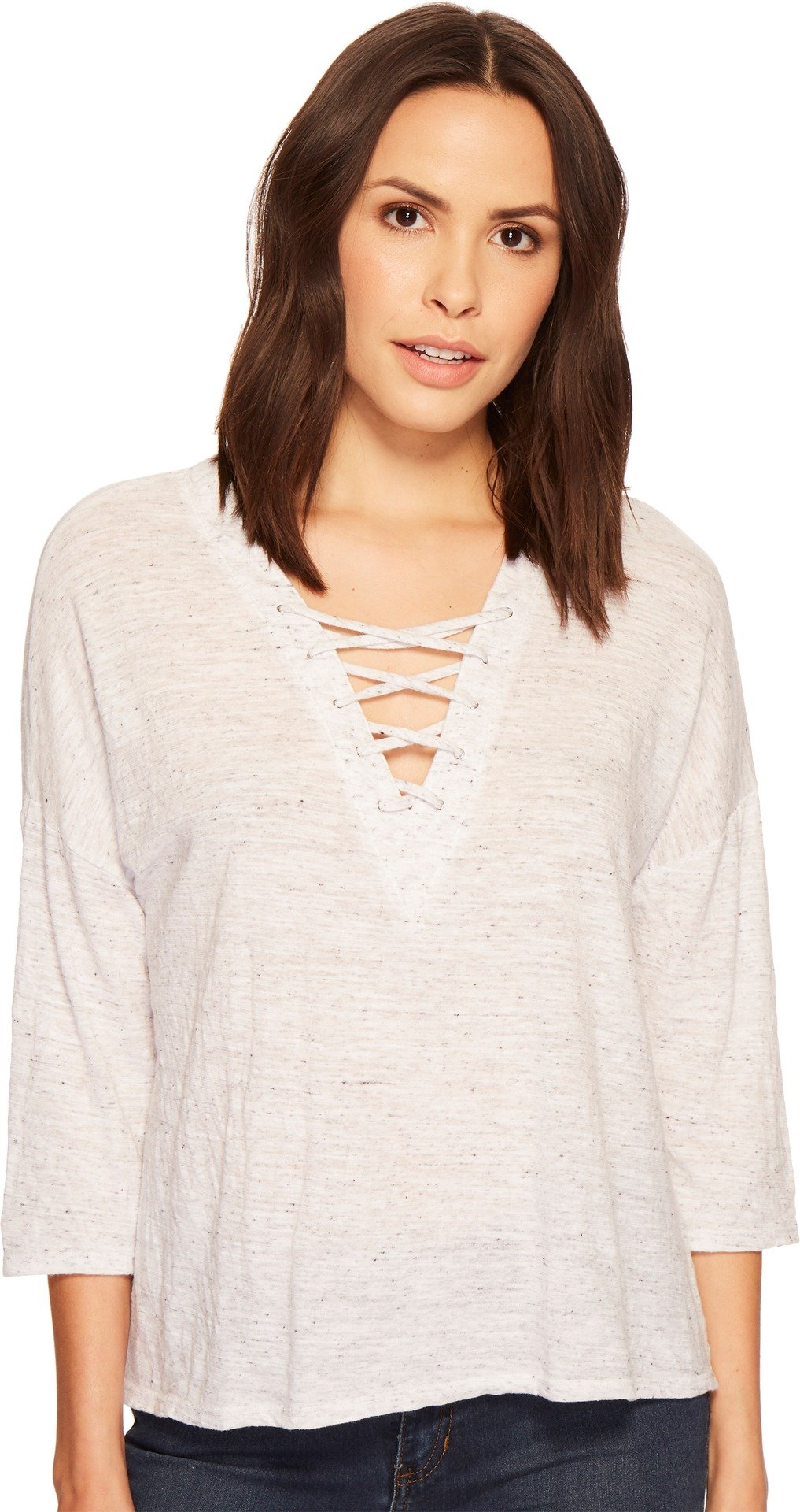 Three Dots Women's Nepps Jersey 3/4 SLV Mid Loose Shirt, White, Large