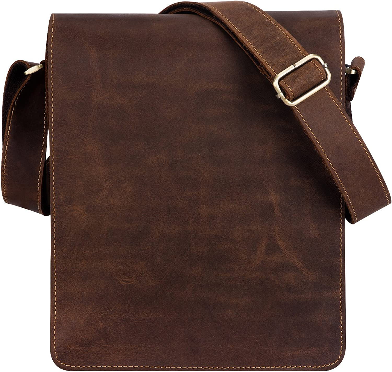 "Kattee Vintage Leather Flapover Messenger Bag Fit 10"" Laptop"