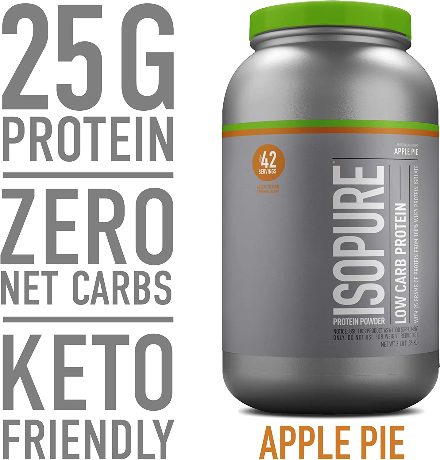 Isopure Low Carb, Keto Friendly Protein Powder, 100% Whey Protein Isolate, Flavor: Apple Pie, 3 Pounds (Packaging May Vary)