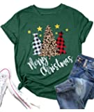 Merry Christmas T Shirt Women Xmas Leopard Plaid Trees Letter Print Shirts Casual Short Sleeve Tee Tops Blouse