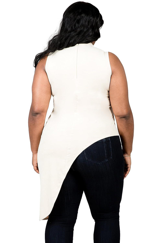 61b1fb724ebb12 Poetic Justice Plus Size Curvy Women's Beige Asymmetrical Mock Turtleneck  Tunic at Amazon Women's Clothing store: