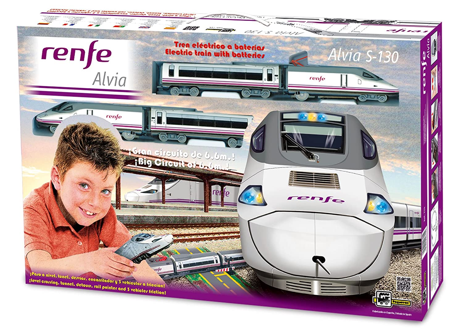 PEQUETREN Pequetren715 High Speed Renfe Alvia S-130 Model Train with Level Crossing/Detours and Tunnel.
