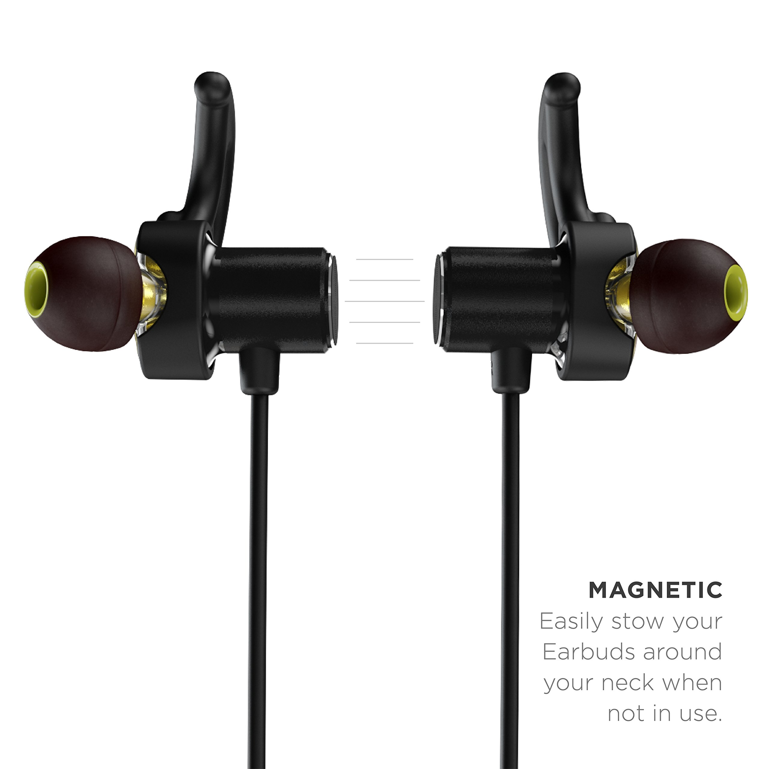 Phaiser BHS-790 Bluetooth Headphones with Dual Graphene Drivers and AptX Sport Headset Earphones with Mic and Lifetime Sweatproof Guarantee - Wireless Bluetooth Earbuds for Running, Blackout by Phaiser (Image #3)