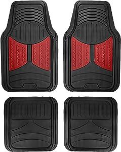 FH Group F11313 Monster Eye Full Set Rubber Floor Mats, Burgundy/Black Color- Fit Most Car, Truck, SUV, or Van