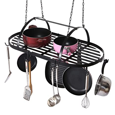 Amazon Com Mygift Ceiling Mounted Hanging Kitchen Pots Pans