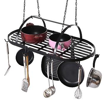 MyGift montaje en techo colgante cocina ollas y sartenes organizador rack con 10 desmontable de doble
