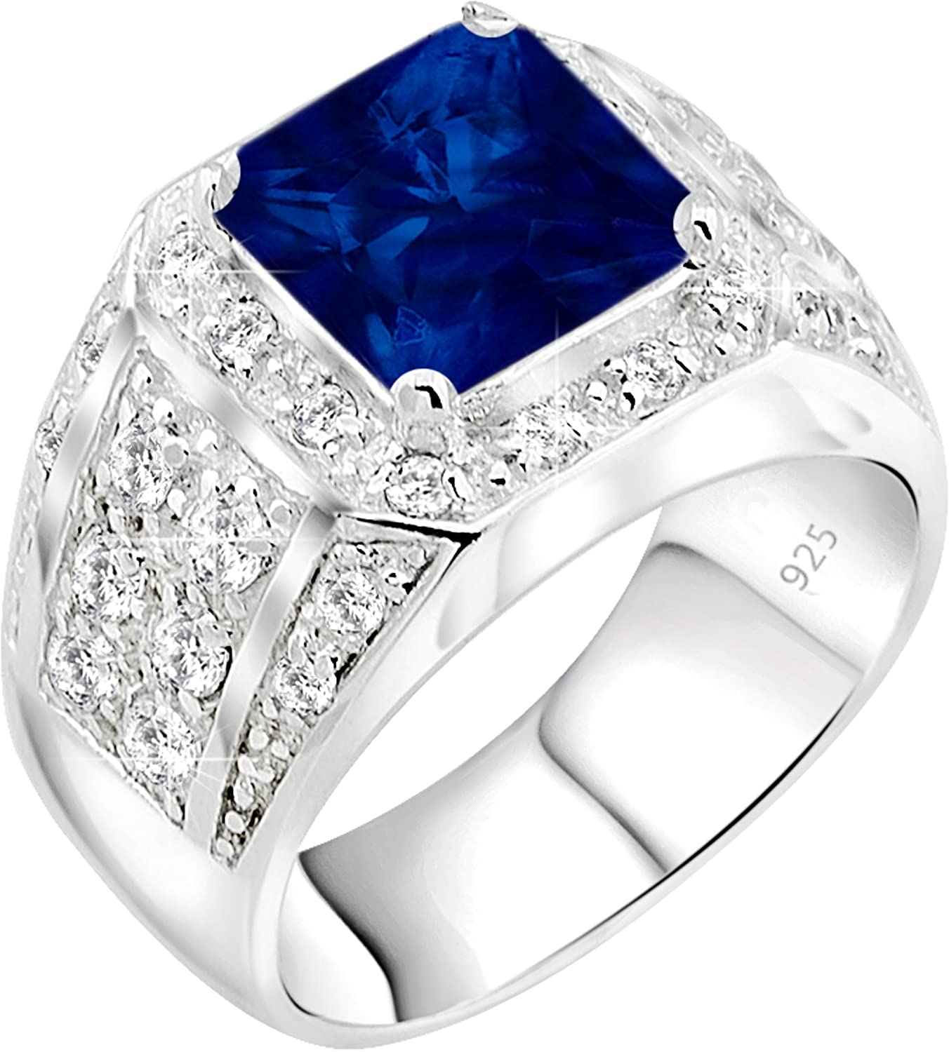 [2-5 Days Delivery] Men's Sterling Silver .925 Ring Synthetic Blue Sapphire Stone High Polish Princess Cut 32 Round Prong-Set Cubic Zirconia Clear (CZ) Stones