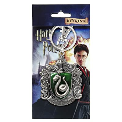 Harry Potter Slytherin School Crest Pewter Keychain: Toys & Games