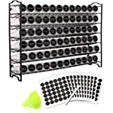 SWOMMOLY Spice Rack Organizer with 72 Empty Square Spice Jars, 340 Spice Labels with Chalk Marker and Funnel Complete Set,for