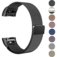 LANGREE Fitbit Charge 2 Strap Band Replacement, Milanese Loop Stainless Steel Magnetic Replacement Wristband Bracelet Watch Band for Fitbit Charge 2