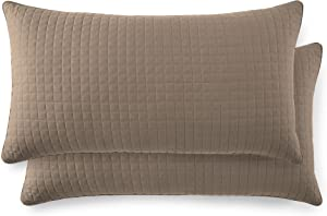 "Southshore Fine Linens - VILANO Springs - Pair of Quilted Pillow Sham Covers (No Inserts), 20"" x 36"", Taupe"