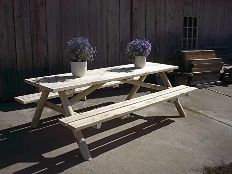 White Cedar Log Picnic Table With Attached Bench   8 Foot