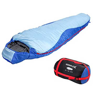 Saco de dormir KeenFlex tipo momia para 3-4 estaciones extra cálido y ligero,