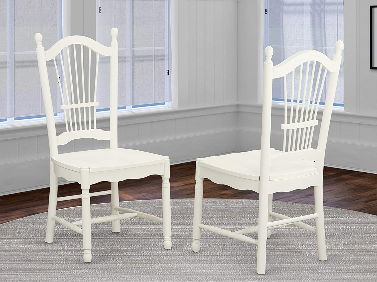 Dover Dining Room Chairs With Wood Seat – Finished in Linen White