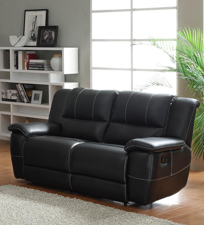 Amazon Homelegance Bonded Leather Black Double Reclining