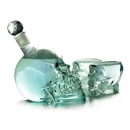 Ganzoo SET botella de calavera (350 ml) cráneo de cristal + ...