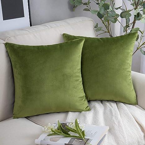 """AVOCADO GREEN 100/%  cotton Velvet 16/"""" Zipped CUSHION COVER"""