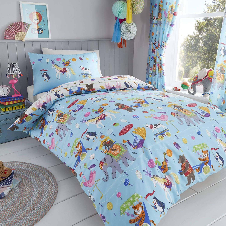 Happy Linen Company Childrens Boys Girls Circus Animals Blue White UK Single/US Twin Reversible Duvet Cover Bedding Set
