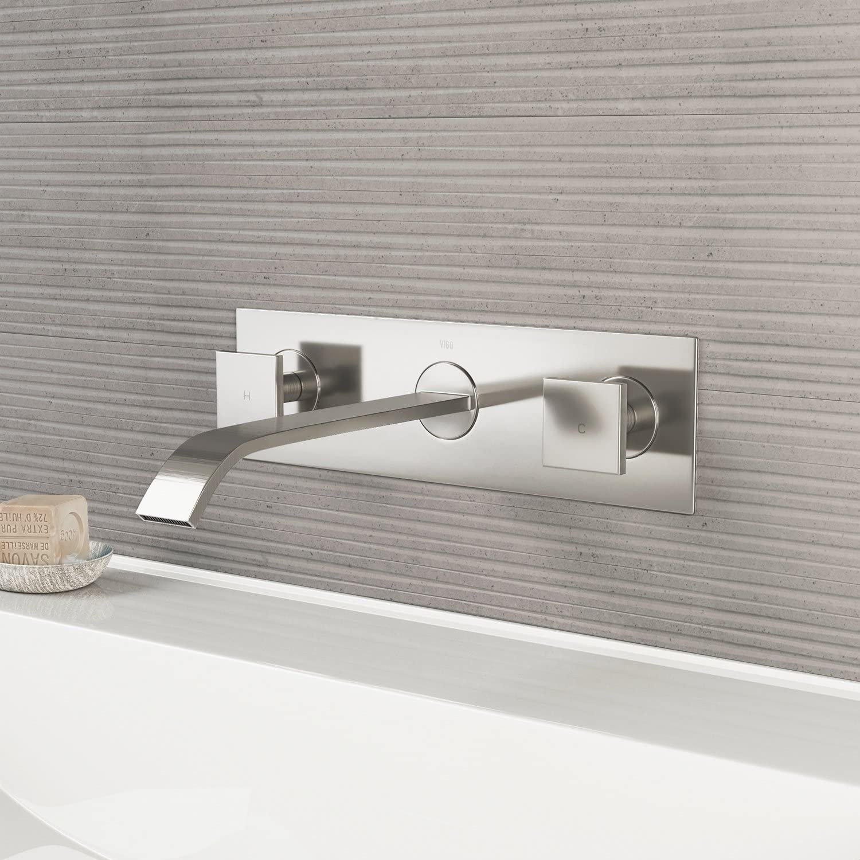 Vigo Vg05002bn 3 H Titus Brushed Nickel Dual Handle Dual Hole Wall Mount Watersense Solid Brass Bathroom Sink Faucet Bathroom Sink Faucets Amazon Com