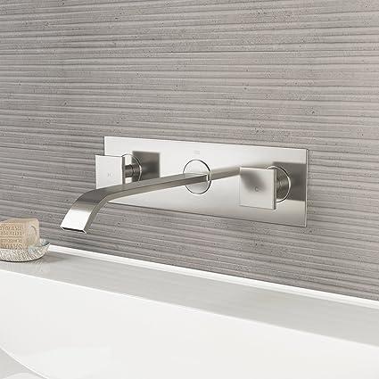 vigo vg05002bn titus two handle wall mount bathroom faucet brushed rh amazon com wall mount faucet bathroom sink wall mount bathroom faucet leaking