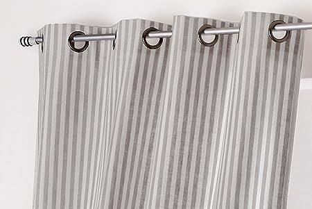 Linder 0515/BG/375FR – Cortina Rayas poliéster/algodón Blanco/Gris 135 x 265 cm: Amazon.es: Hogar