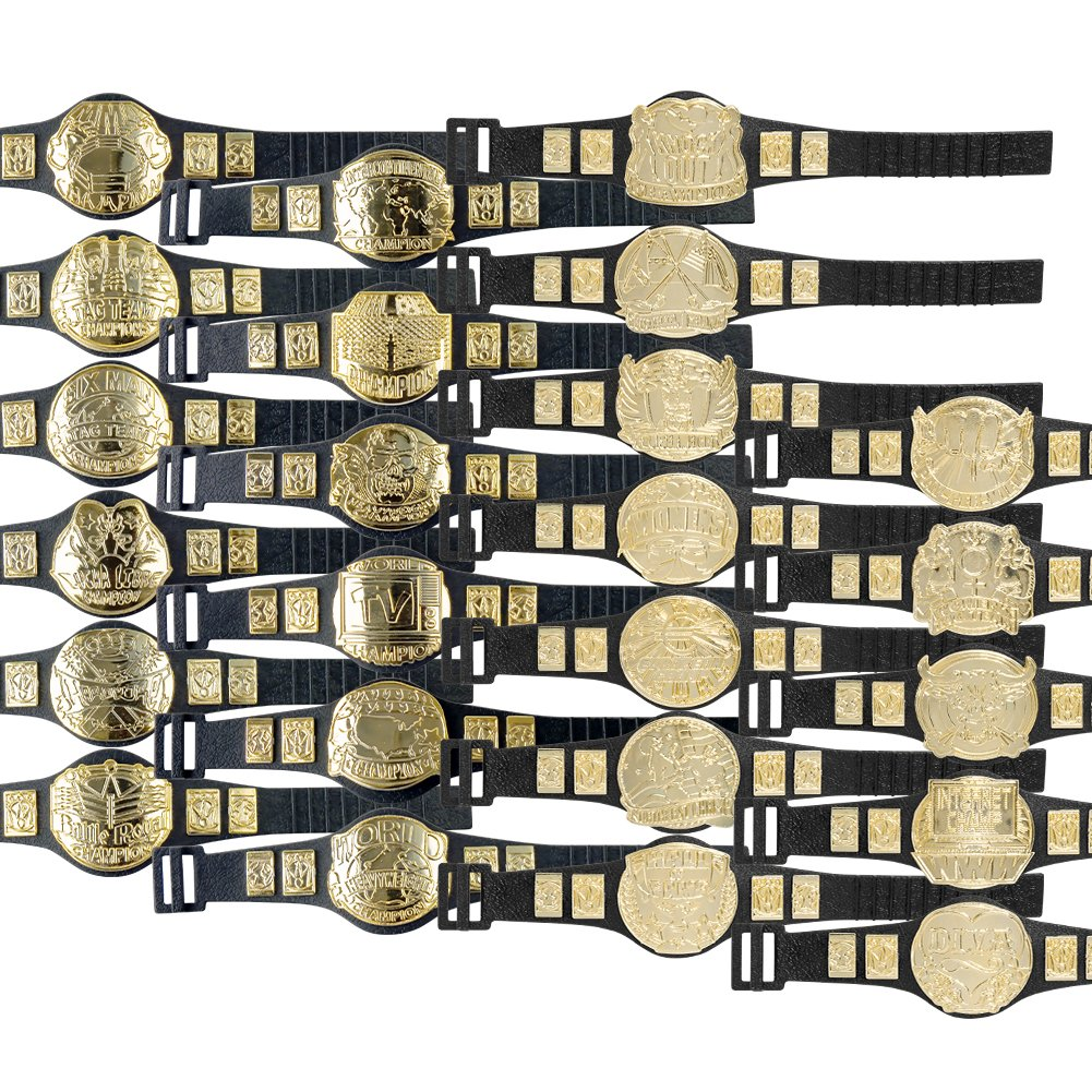 Complete Set of 24 Championship Belts for WWE Wrestling Action Figures (Series 1 and 2)