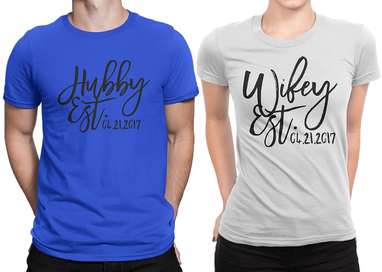 Hubby est Wifey est Wedding Date Couple Matching T-Shirt Honeymoon Valentines Day