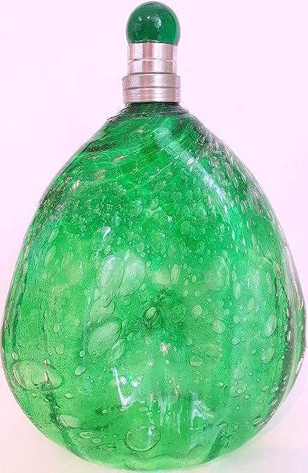Jarra de cristal con burbujas de aire, soplado artesanalmente botella estilo antiguo jarrón de vidrio