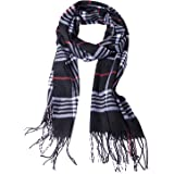 Winter Long Cashmere Feel Warm Plaid Tassel Scarf for Women And Men