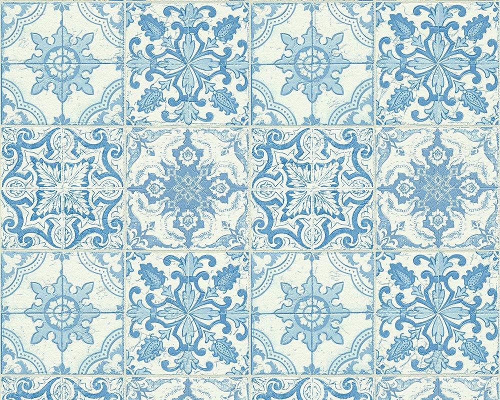 A.S. Cré ation papel pintado Faro 4 azul metá lico blanco 10, 05 m x 0, 53 m 300422 A.S. Création