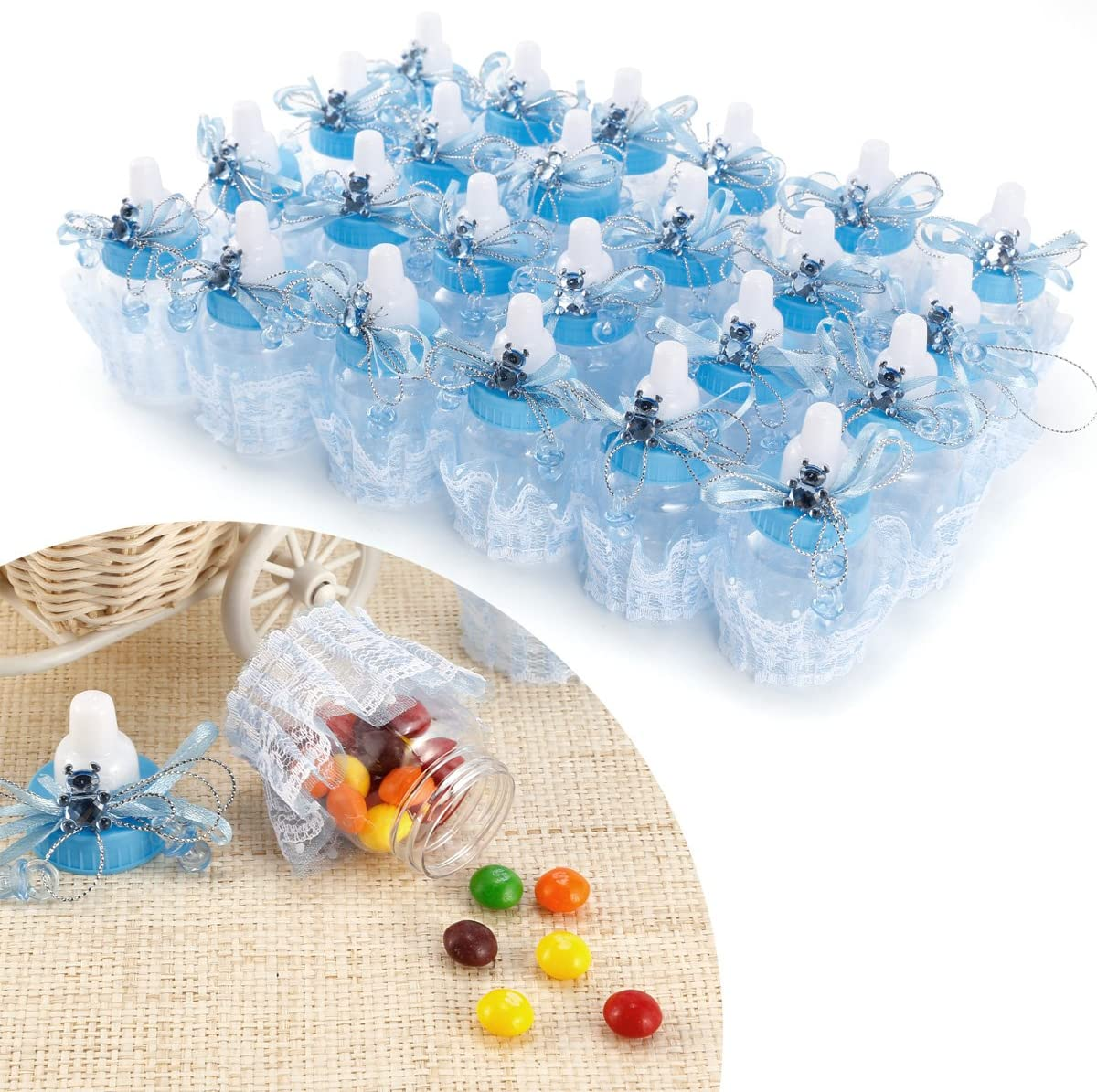 Anladia Baby Shower Party Favours Decoration Candy Filling Bottles 9 x 4cm Pack of 24 Pink Blue Style: #3, Blue