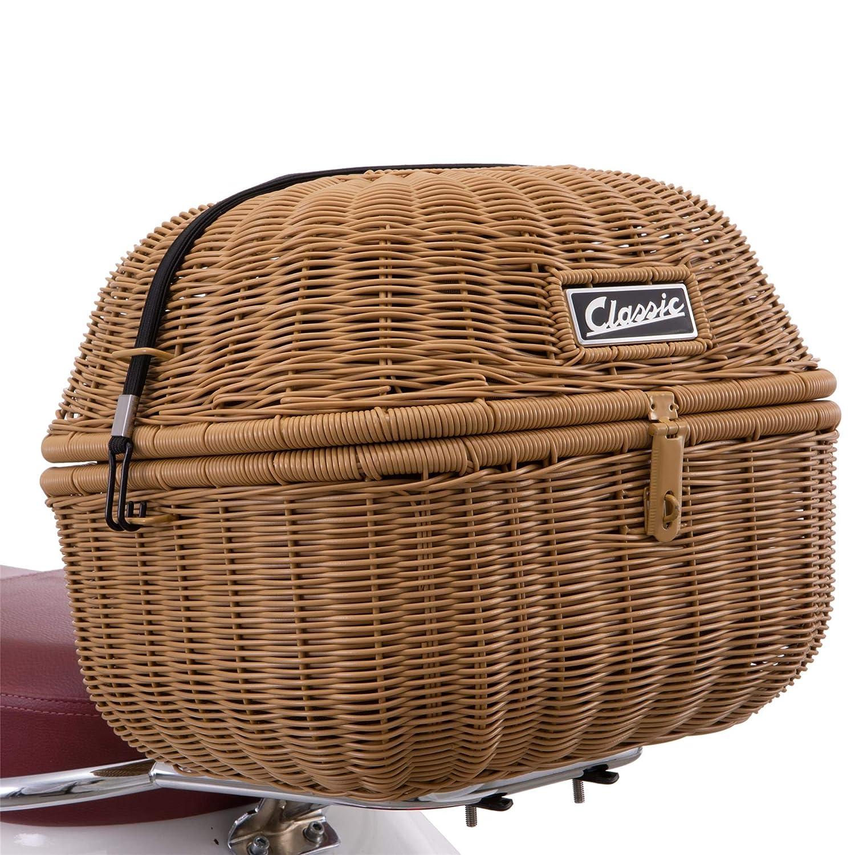 ca marrone per Vespa LX//LXV 50-150 ccm con ponte per bagagli. Kit portapacchi SIP Classic 20 litri