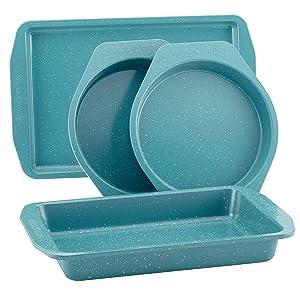 Paula Deen 46653 4-Piece Steel Bakeware Set, Gulf Blue Speckle