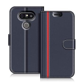 COODIO Funda LG G5 con Tapa, Funda Movil LG G5, Funda Libro LG G5 Carcasa Magnético Funda para LG G5, Azul Oscuro/Rojo