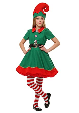 fun costumes girls holiday green and red elf costume s - Christmas Elf Costume