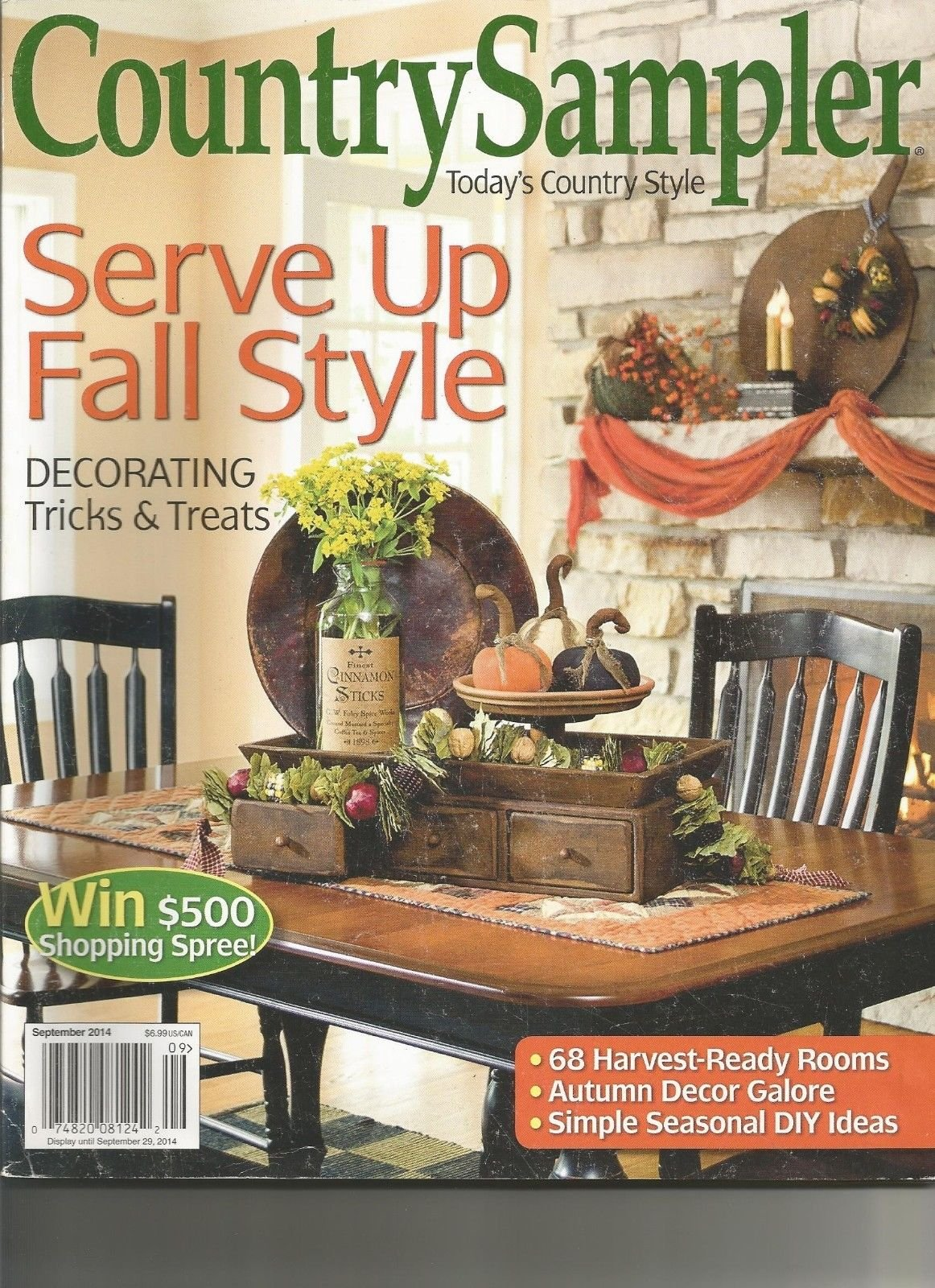 COUNTRY SAMPLER, SEPTEMBER, 2014 (SERVE UP FALL STYLE)