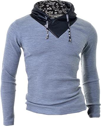 D&R Fashion – Camiseta para hombre con parches de piel y capucha, color gris y negro gris XXL: Amazon.es: Ropa y accesorios