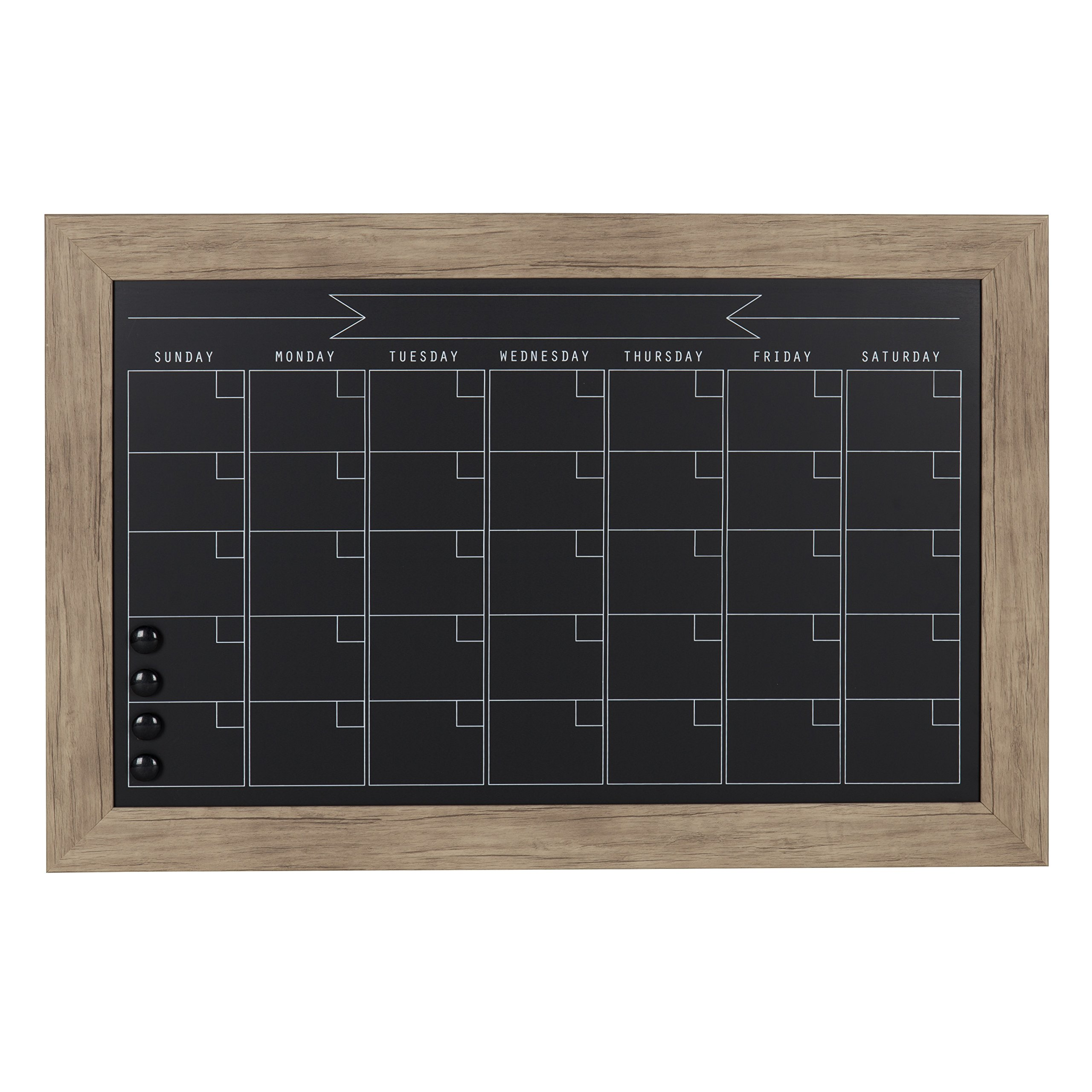 DesignOvation Beatrice Framed Magnetic Chalkboard Monthly Calendar, 18x27, Rustic Brown
