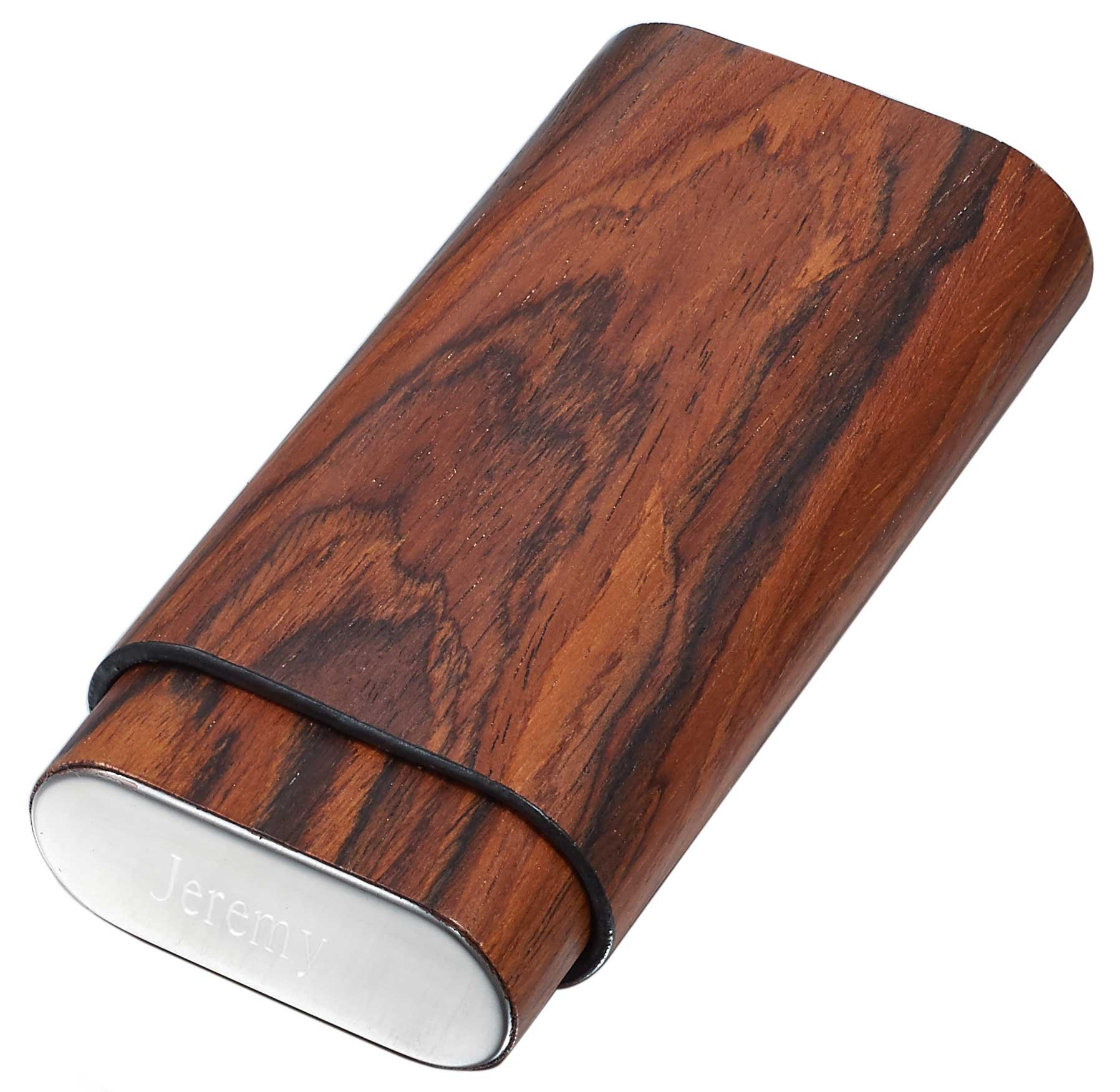 Personalized Visol Natural Wood Cigar Case with Free Engraving