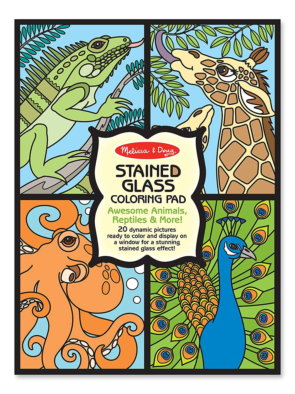 amazoncom melissa doug stained glass coloring pad animals melissa doug toys games - Melissa And Doug Coloring Book