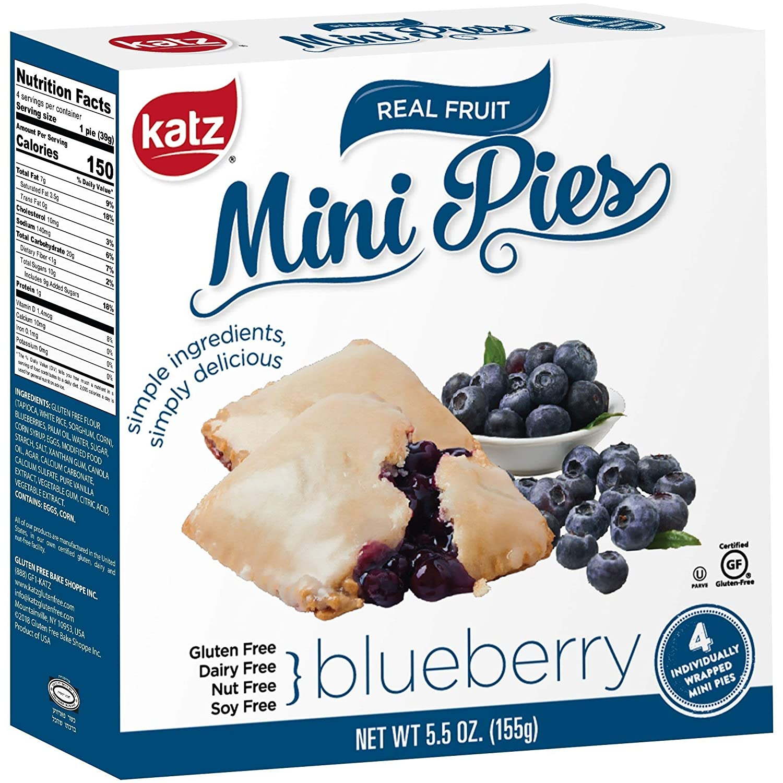 Katz Gluten Free Blueberry Mini Pies | Dairy Free, Nut Free, Soy Free, Gluten Free | Kosher (3 Packs of 4 Mini Pies, 5.5 Ounce Each)