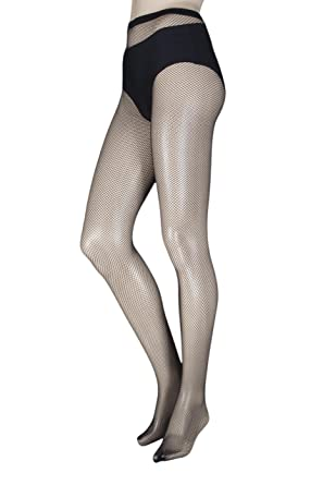 3e4a50cad97d7 Ladies 1 Pair Elle Classic Fishnet Tights - Black One Size: Amazon.co.uk:  Clothing