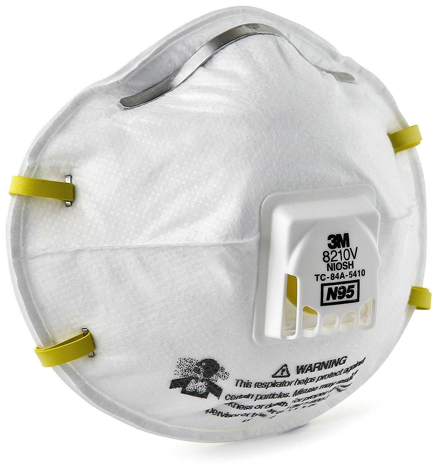 3M 8210V Particulate Respirator, N95 Exhalation Valve, Respiratory Protection, 100 Dust Masks (Case of 10)