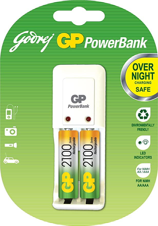 Godrej GP Charger with 2 x AA 2100mAH Batteries  Single unit  Battery Chargers