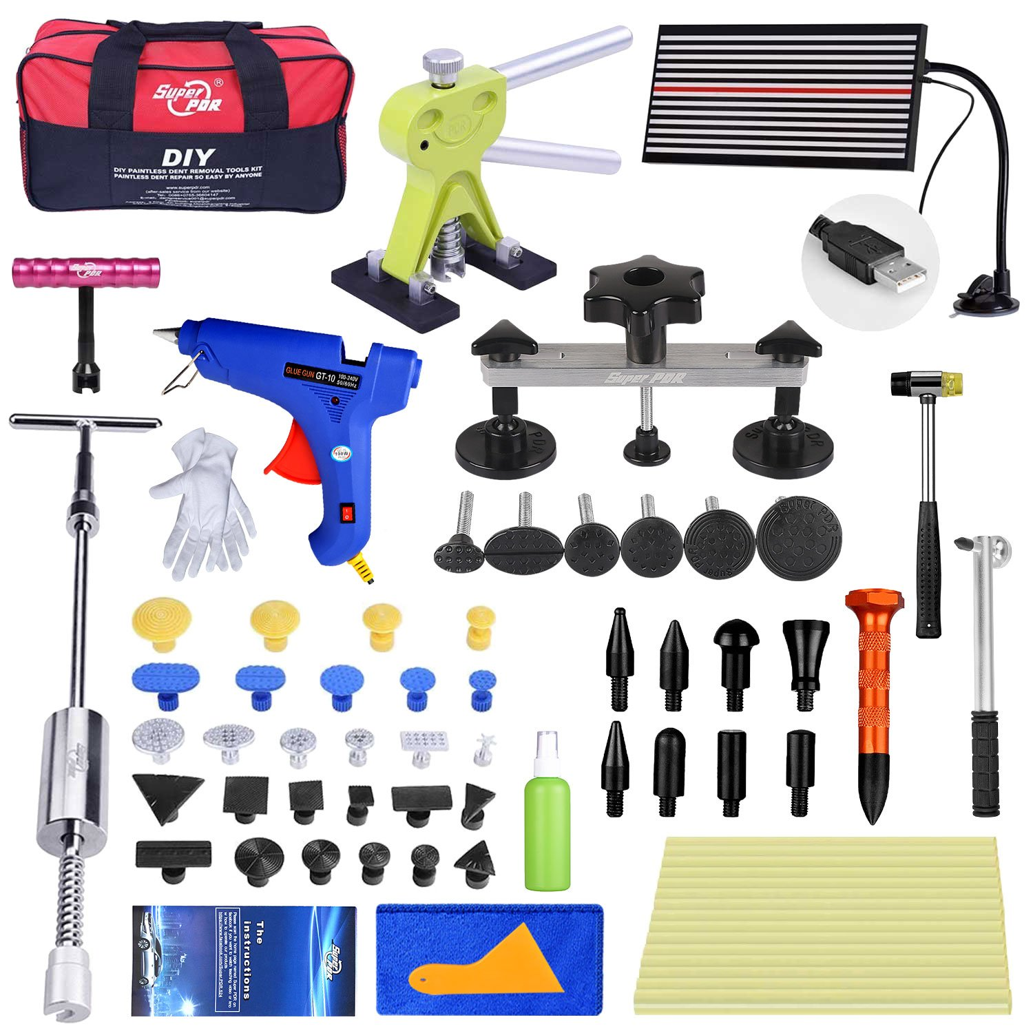 Super PDR 58Pcs NEW Paintless Dent Repair Tools Silver Bridge Puller Green Dent Lifter Auto Body Repair Kits With Hot Melt Glue Gun For Car Hail Damage And Door Dings Repair by Super PDR (Image #1)