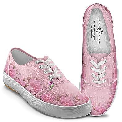 Amazon blush of beauty womens pink canvas flower shoes by the amazon blush of beauty womens pink canvas flower shoes by the bradford exchange fashion sneakers mightylinksfo