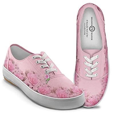 Amazon blush of beauty womens pink canvas flower shoes by the bradford exchange blush of beauty womens pink canvas flower shoes 6 by the mightylinksfo